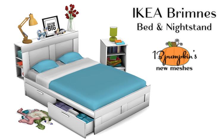 Brimnes Bed & Nightstand - TS4 CC