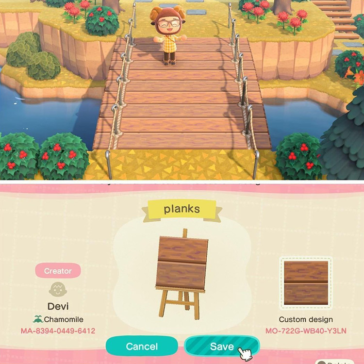 Fake Wooden Bridge Pattern in ACNH