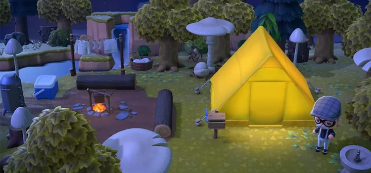 Nighttime Campground in ACNH