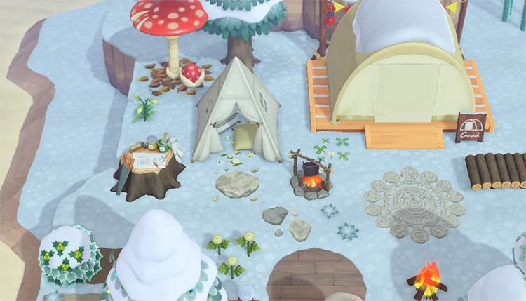Winter Wonderland Campsite Area in ACNH