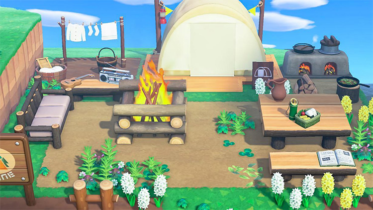 Log Fire and Picnic Bench Campground - ACNH