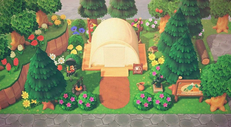 Greenery and Flowers - ACNH Campground Idea