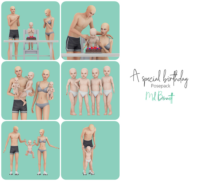 A Special Birthday Posepack for Sims 4