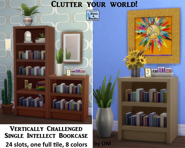 Vertically Challenged Bookcase for Sims 4