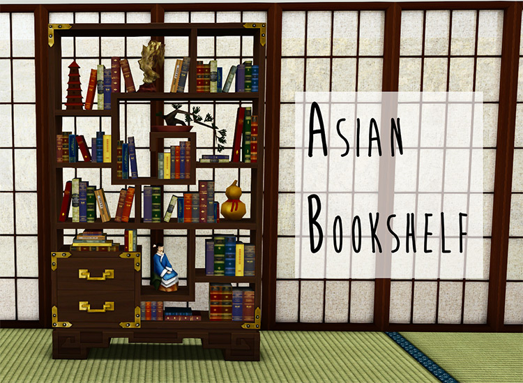 Asian Bookshelf for Sims 4