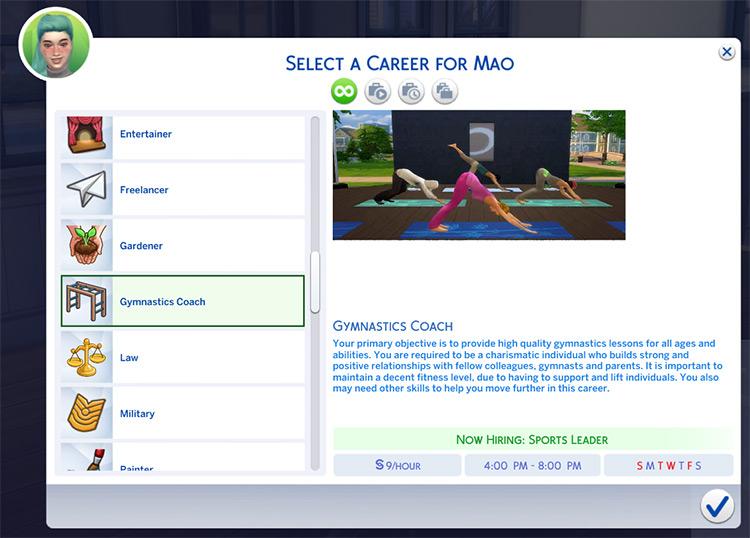 Gymnastics Coaching Career Sims 4 CC