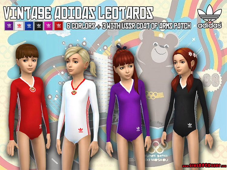 Vintage Adidas Leotards for Sims 4