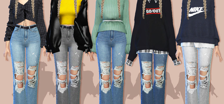 TS4 Ripped Jeans CC Preview