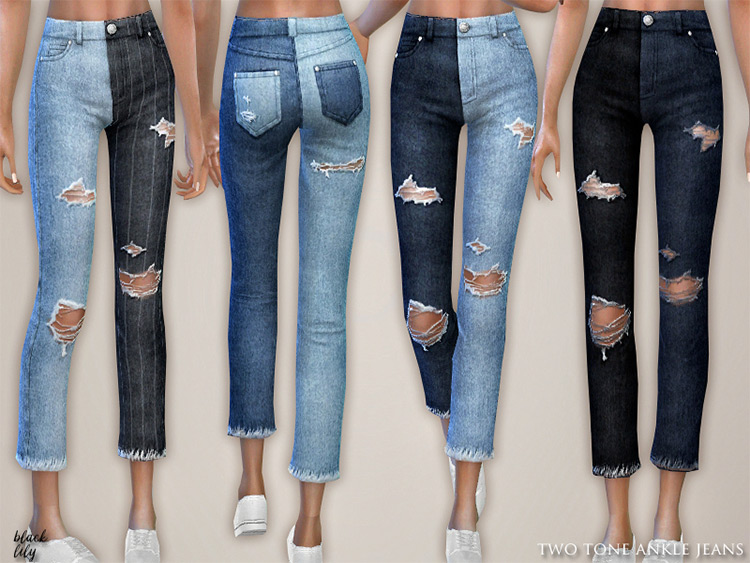 Two-tone Ankle Jeans for Sims 4