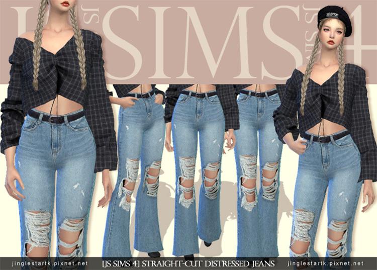 Straight Cut Distressed Jeans TS4 CC