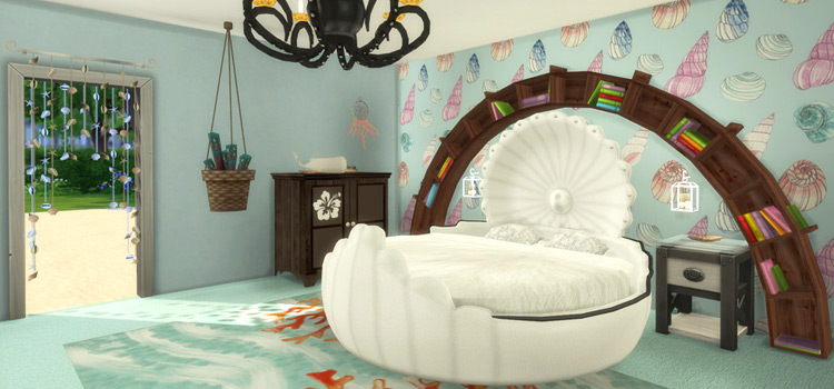 Round Mermaid Shell Bed CC - The Sims 4