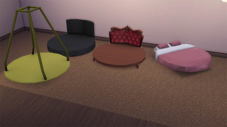 Round Bed Mattresses and Frames TS4 CC