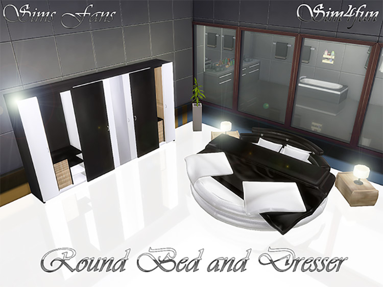 Round Bed and Dresser Sims 4 CC