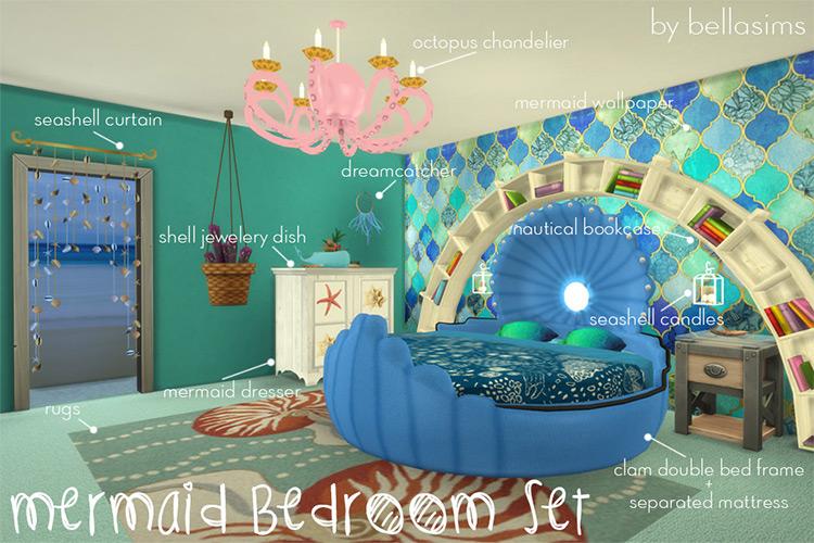 Mermaid Bed Set Sims 4 CC
