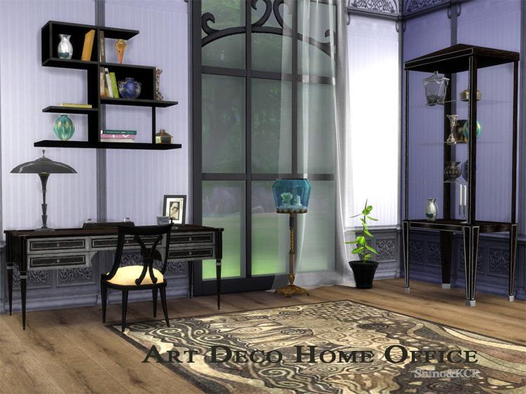 Art Deco Home Office Sims 4 CC