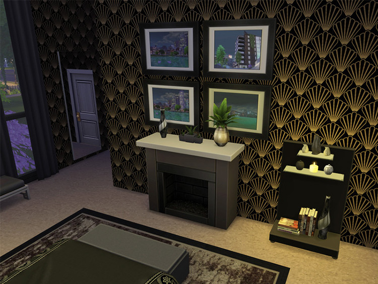 Art Deco Luxury Wallpaper Dark Collection for Sims 4