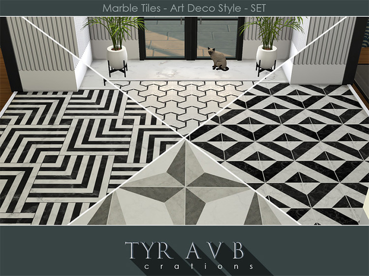 Marble Tiles Art Deco Style for Sims 4