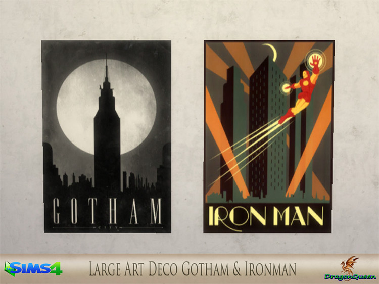 Large Art Deco of Gotham and Iron Man Sims 4 CC
