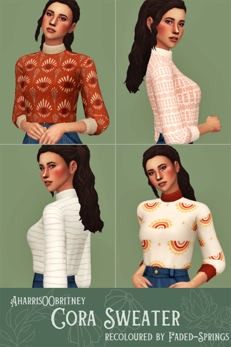 Cora Sweater with Turtleneck - Sims 4 CC