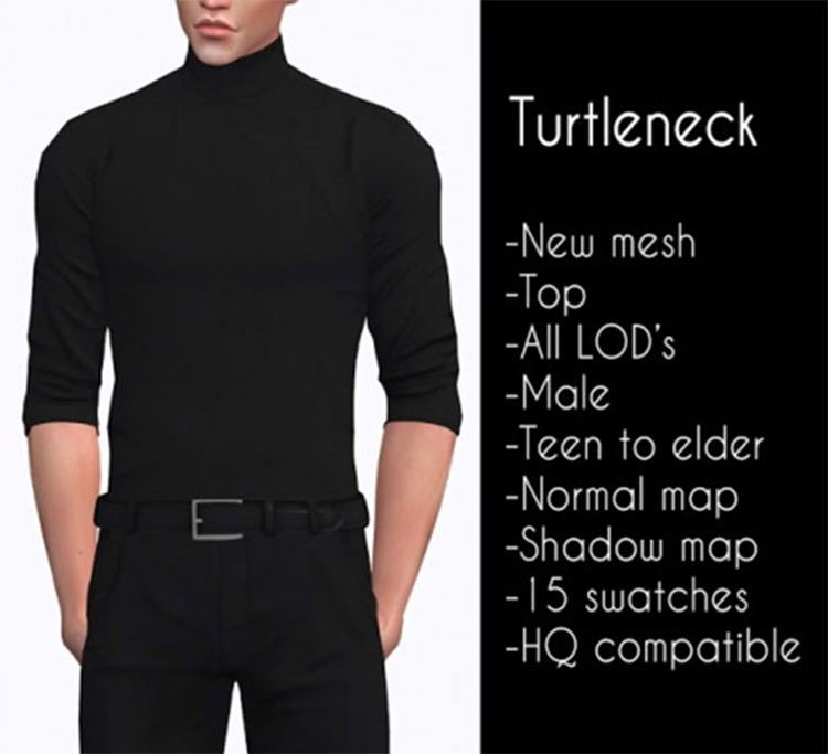 Male Casual Turtleneck CC for The Sims 4