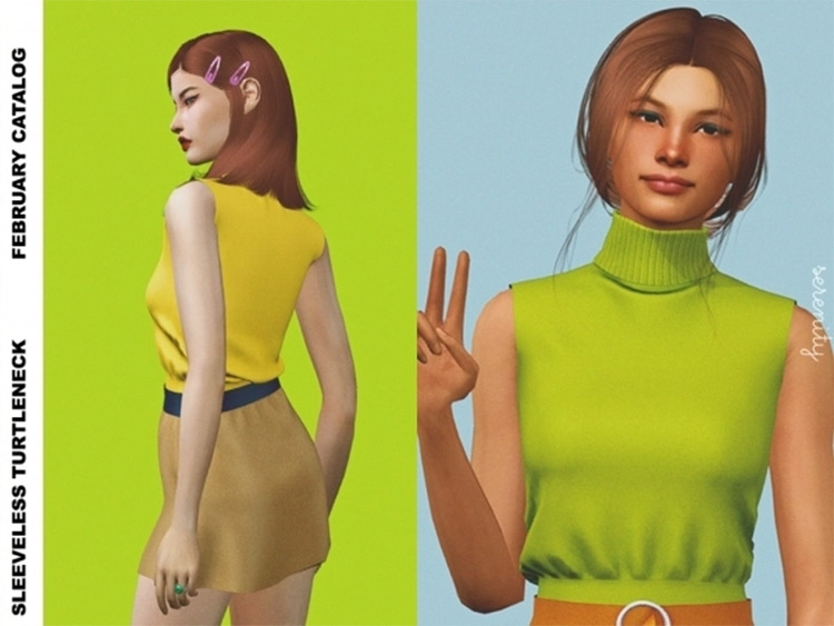 Sleeveless Turtleneck Top CC - Sims 4