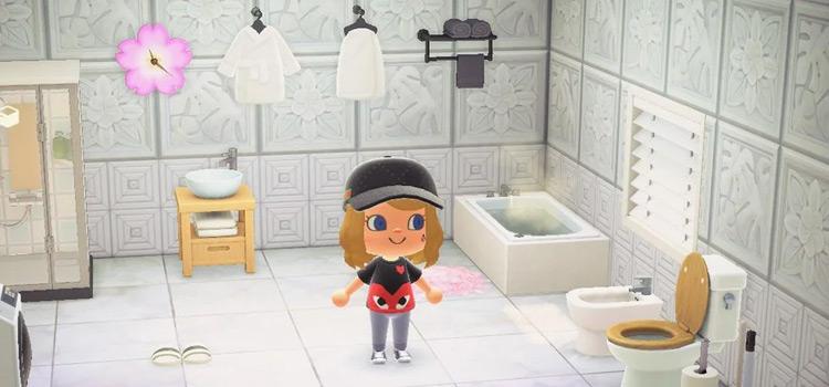 Simple white bathroom design idea - ACNH