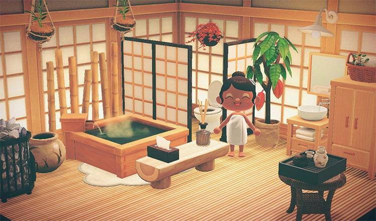 Japanese Spa-Themed Bathroom Idea - ACNH