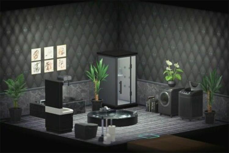 Dark black items in modern bathroom - ACNH Idea