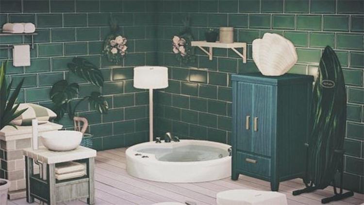 Dark Teal bathroom idea - ACNH