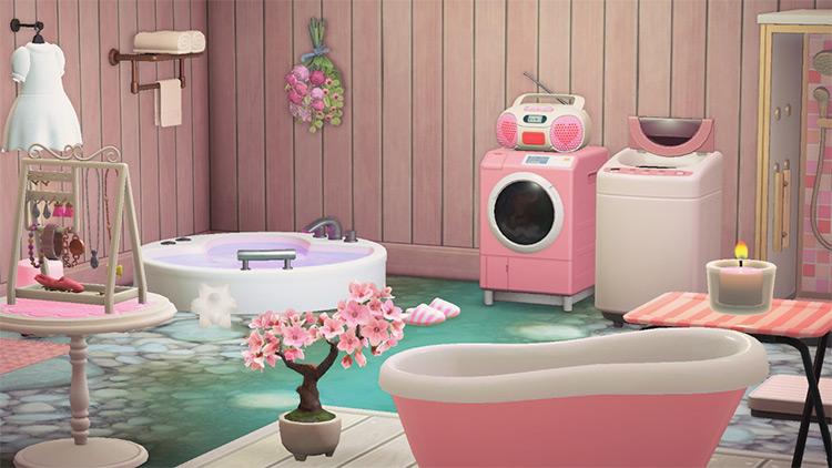 Girly and pink bathroom design - ACNH Idea