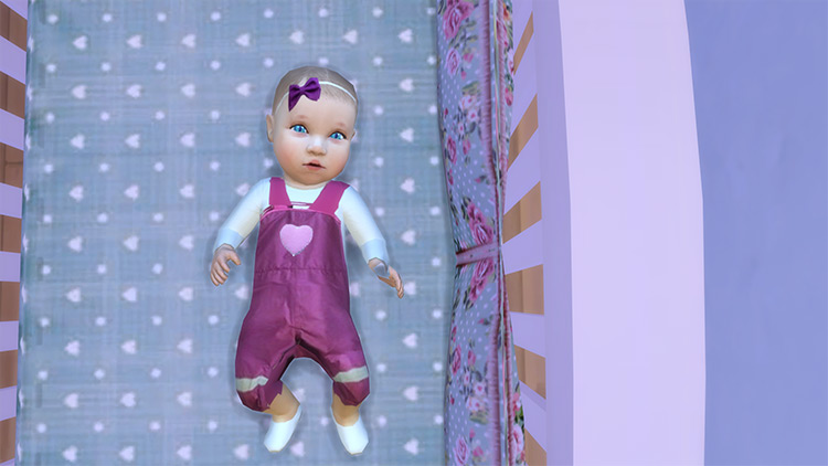 Purple Hearts Overalls for Sims 4