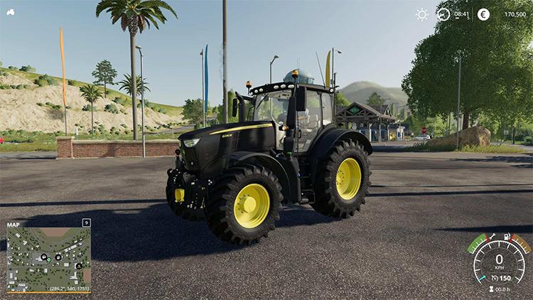 John Deere 6R Black Tractor Mod