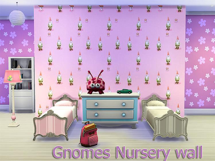 Gnomes Nursery Wallpaper CC - Sims 4