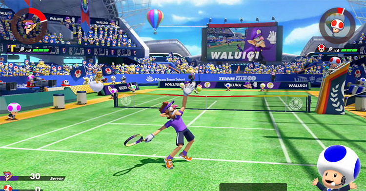 Waluigi in Mario Tennis