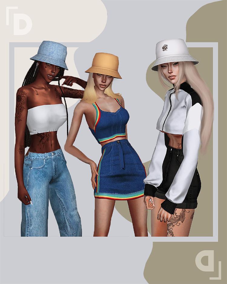 Iris Bucket Hats CC Set - TS4