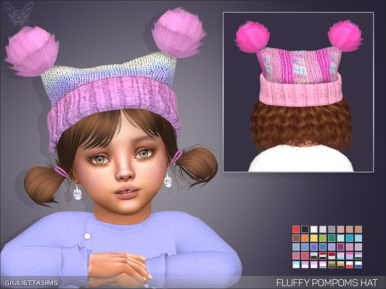 Fluffy Pompoms Hat - TS4 Toddler CC