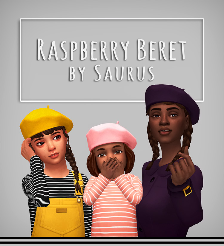 Raspberry Beret CC for The Sims 4