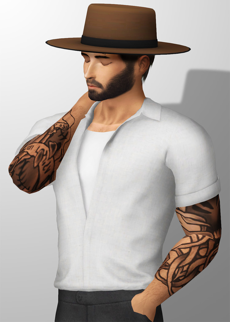 Wide Brim Hat CC for The Sims 4