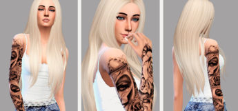 Sims 4 - Blonde Girl Full Sleeve Tattoo CC