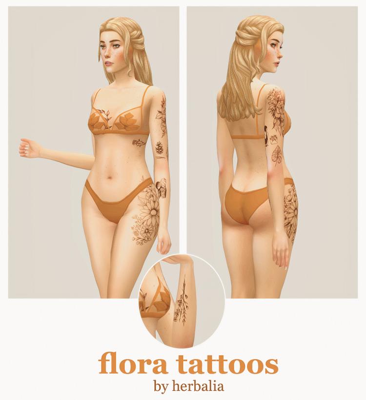 Flora Tattoos Set - TS4 CC