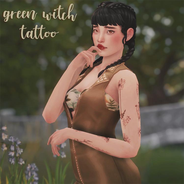 Green Witch Tattoos Set - TS4 CC