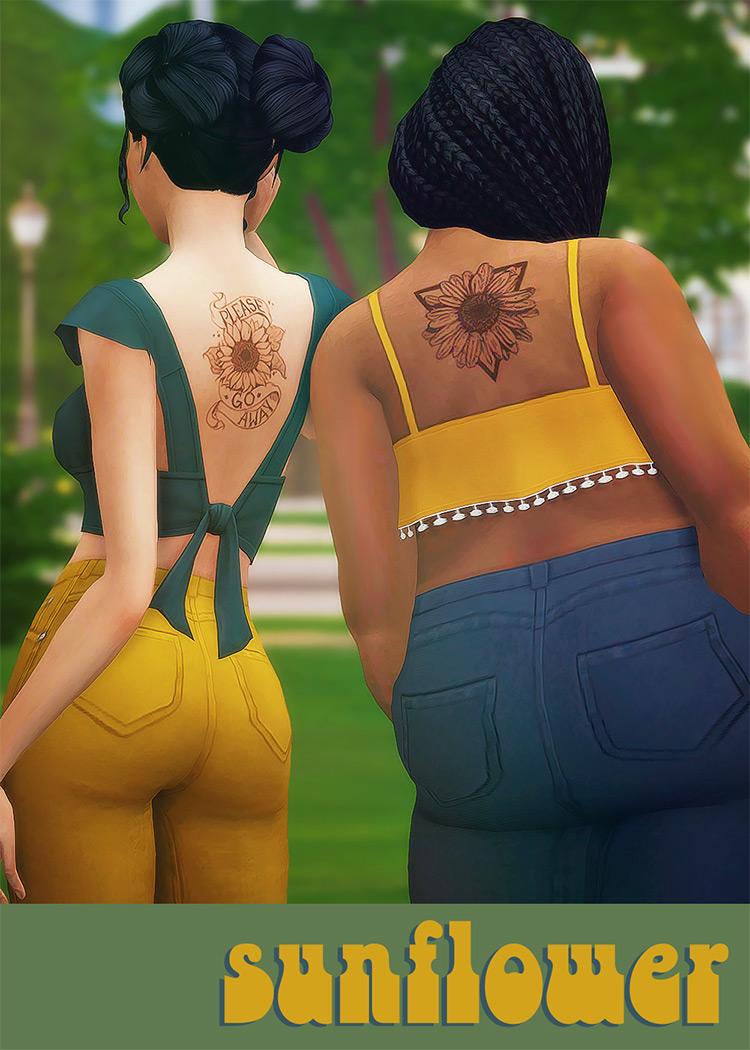 Sunflower Back Tattoos - TS4 CC