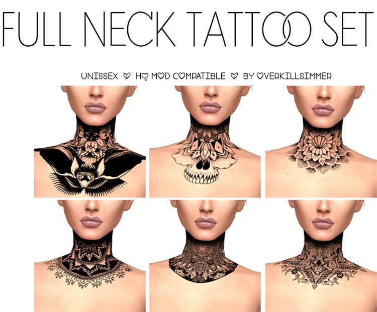 Full Neck Tattoo CC Set - TS4