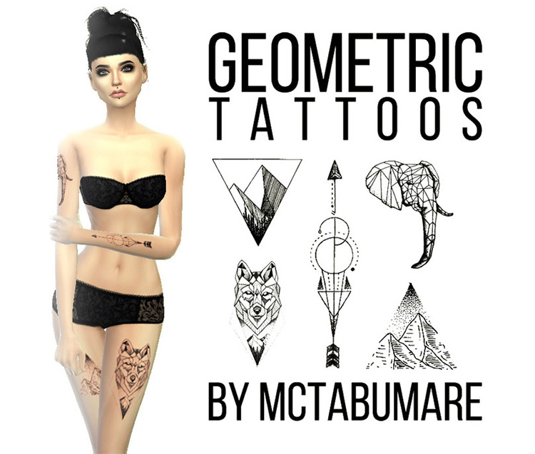 Geometric Tattoos in Sims 4 CC