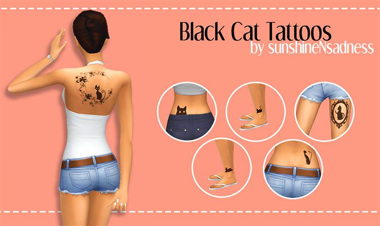 Black Cat Custom Tattoos - Sims 4 CC