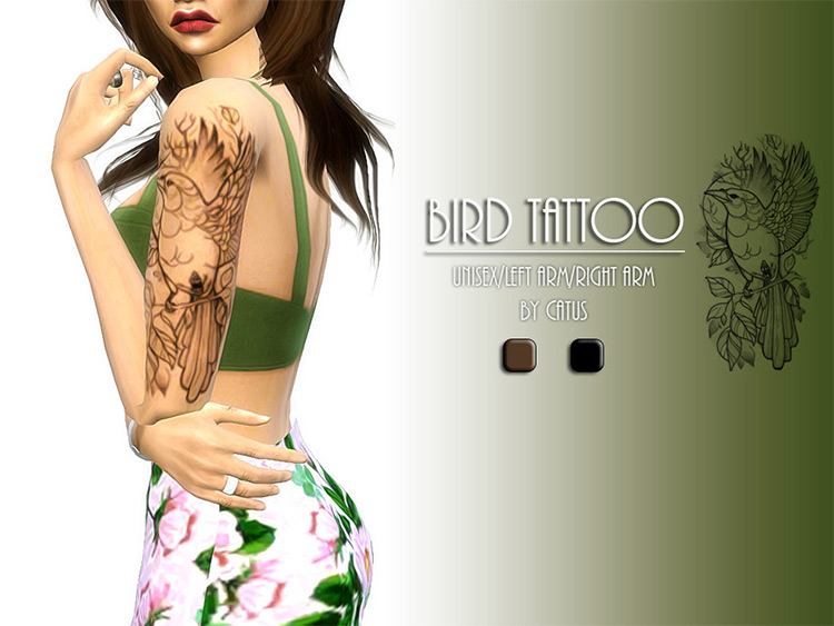 Bird Tattoo Design for The Sims 4