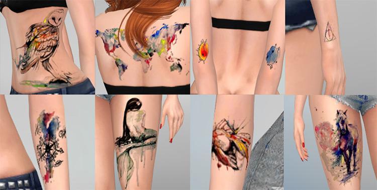 Watercolor Tattoo Set - Sims 4 CC