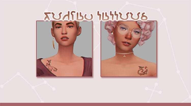 Tiny Zodiac Tattoos - Sims 4 CC