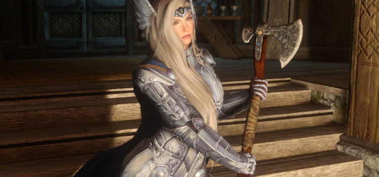 Leviathan Axe Two-Handed Modded Female Character - Skyrim
