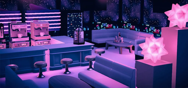 Pink Spaceship Lounge Interior Design - ACNH Idea